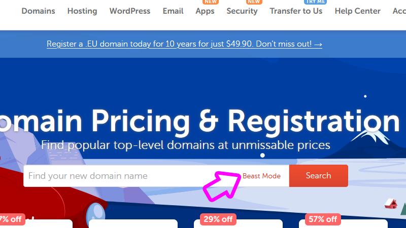 find domain name namecheap.com beast mode
